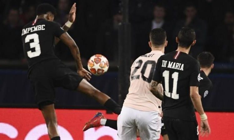 Diogo Dalot's shot hit Presnel Kimpembe's arm as United trailed 3-2 on aggregate (Image credit: AFP)
