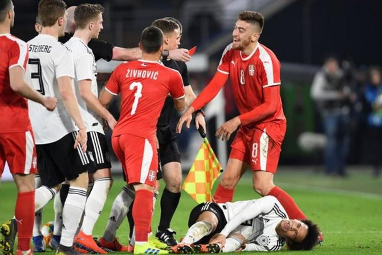 Pavkov was sent off in the 93rd minute for his challenge on Sane (Image credit: Reuters)
