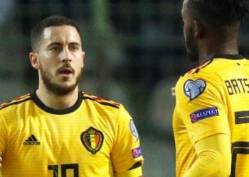 Eden Hazard (left) and Michy Batshuayi were in a Belgium starting XI that contained six Premier League players (Image credit: Reuters)