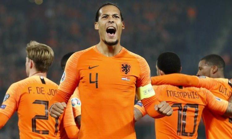 Virgil van Dijk scored his third goal in six internationals for the Netherlands (Image credit: EPA)