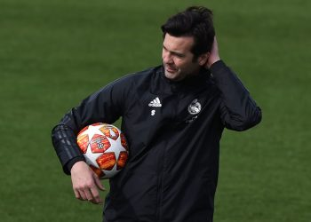MADRID, SPAIN - MARCH 04: Santiago Solari, manager of Real Madrid looks on during a team training session ahead the UEFA Champions League Round of 16 Second Leg match of the UEFA Champions League between Real Madrid and Ajax at Valdebebas training ground on March 04, 2019 in Madrid, Spain. (Photo by Denis Doyle/Getty Images)