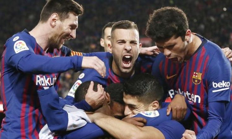 """The crowd of 92,453 chanted """"champions"""" after late goals from Luis Suarez and Lionel Messi (Image credit: Getty Images)"""