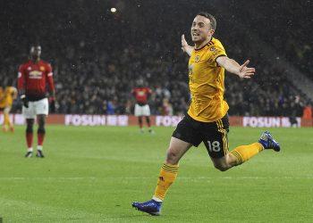 Jota celebrates after goal against Man Utd