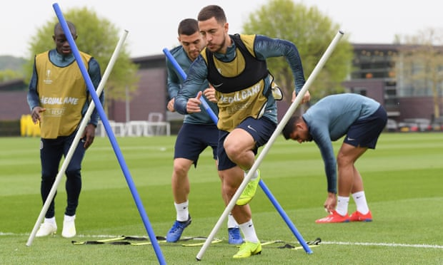 Eden Hazard is expected to play against Frankfurt but Chelsea have defensive problems. Photograph: Darren Walsh/Chelsea FC via Getty Images