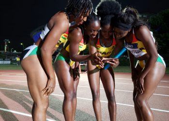 Ghana Women's Relay team celebrate qualification to the World Championships