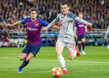 Andy Robertson in action during the Champions League semi-final first leg. Photograph: Nigel Keene/ProSports/Rex/Shutterstock