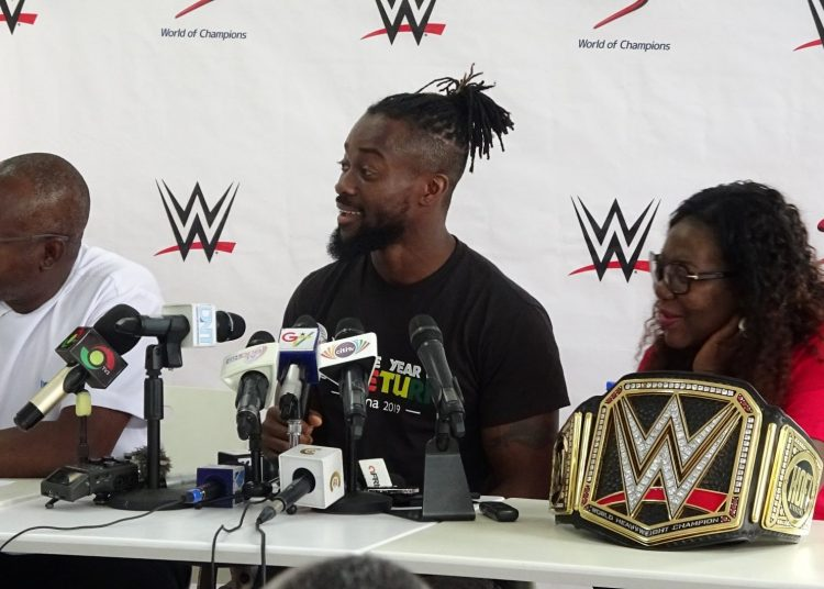 Kofi Kingston (middle) flanked by his mother, Dr. Efia Sarkodie-Mensah (right) and MD of Multichoice Ghana, Cecil Sunkwa-Mills (left)