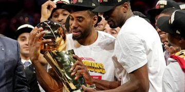 Kawhi Leonard and Serge Ibaka celebrate their NBA title victory. (Photograph: Kyle Terada/USA Today Sports)