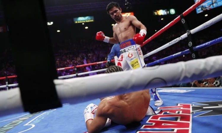 American Keith Thurman was knocked down in the first round by Manny Pacquiao (Image credit: Getty Images)