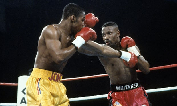 Pernell Whitaker (right) during his victory over Anthony Jones in Las Vegas in 1991. The fight secured Whitaker the WBC, IBF and WBA lightweight titles. (Photograph: The Ring Magazine/The Ring Magazine via Getty Images)