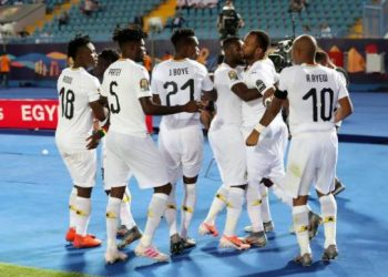 The Black Stars celebrate Jordan Ayew's opening goal in the 2-0 win over Guinea-Bissau