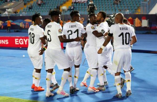 The Black Stars celebrate Jordan Ayew's opening goal in the 2-0 win over Guinea-Bissau
