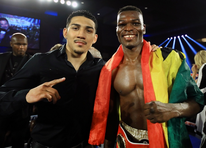 Teofimo Lopez (left) with Richard Commey (right) after Commey defeated Ray Beltran