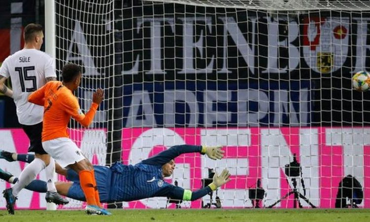 Malen scored on his debut for the Dutch, having come off the bench (Image credit: Getty Images)