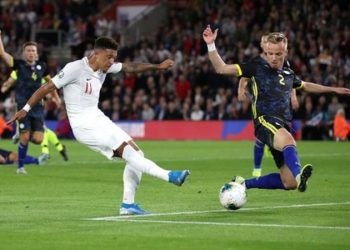 Sancho scored his first two international goals for England (Image credit: PA MEDIA)