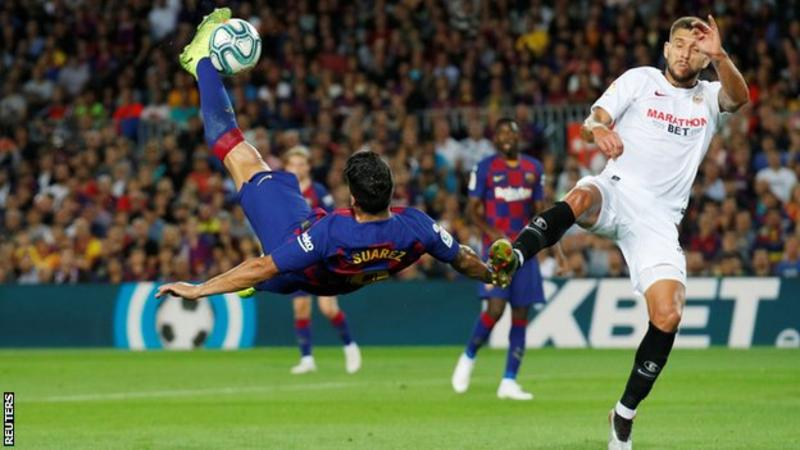 Luis Suarez scored both goals as Barcelona came from behind to beat Inter Milan in the Champions League on Wednesday (Image credit: Reuters)