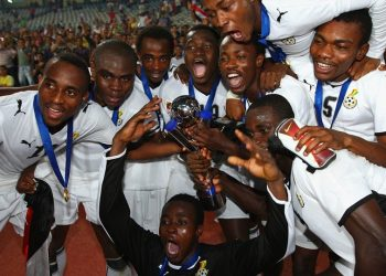The Ghana players celebrate their historic win