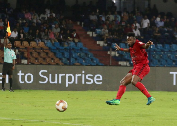 Asamoah Gyan of Northeast United FC scores a goal but was given a off side by the side line referee during match 2 of the Indian Super League ( ISL ) between the Bengaluru FC and North East United FC held at the Sree Kanteerava Stadium, Bengaluru, India on the 21st October 2019.  Photo by: Vipin Pawar / SPORTZPICS for ISL