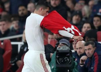 Granit Xhaka reacted angrily to the reaction from Arsenal fans when he was substituted against Crystal Palace on 27 October (Image credit': AFP)