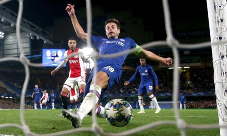 Cesar Azpilicueta scored from close range and thought he had snatched a late winner, but it was ruled out by the video assistant referee (Image credit: Getty Images)