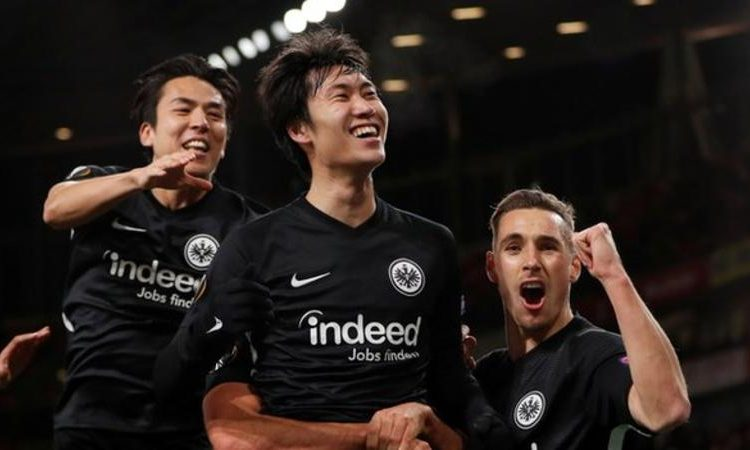 Before Thursday, Daichi Kamada (centre) had scored one goal in 27 appearances for Eintracht Frankfurt (Image credit: Reuters)