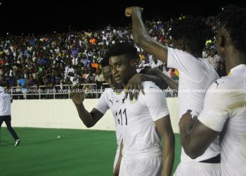Kudus Mohammed celebrating his goal in his debut against South Africa