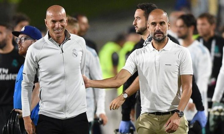 The draw pits Zidane Zidane (left) against Pep Guardiola for the first time as managers (Image credit: Getty Images)