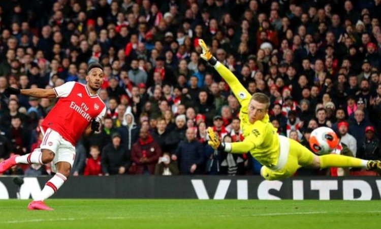The most Premier League goals since Aubameyang's debut in the competition - Aubameyang (49), Mohamed Salah (49) (Image credit: Getty Images)