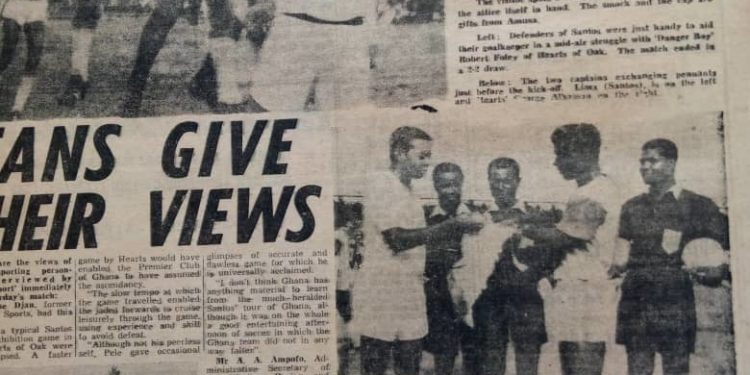 A newspaper clipping with the match report from the match