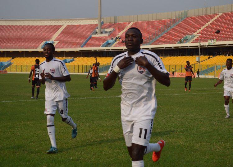 Victorien Adebayor celebrating after scoring against Legon Cities FC