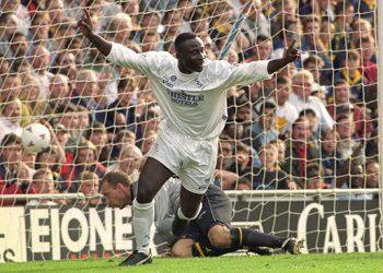Tony Yeboah celebrates scoring for Leeds United in their 4-2 won over Wimbledon.