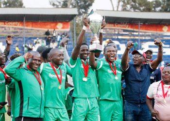 Gor Mahia captain Kenneth Muguna (centre) celebrates with teammates after winning the Kenyan Premier League Super Cup at Kenyatta Stadium, Machakos on August 18, 2019. Gor beat Bandari 1-0. PHOTO | CHRIS OMOLLO |  NATION MEDIA GROUP