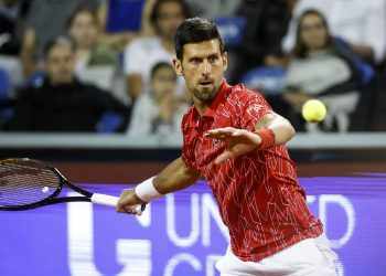 BELGRADE, SERBIA - JUNE 13: Novak Djokovic returns the ball to Filip Krajinovic of Serbia during the Adria Tour charity exhibition hosted by Novak Djokovic on June 13, 2020 in Belgrade, Serbia. (Photo by Srdjan Stevanovic/Getty Images)