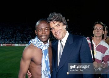 Winning combo: Abedi Pele (left) and Bernard Tapie (right) during their days together at Marseille in the early 90s (Image credit: Getty Images)