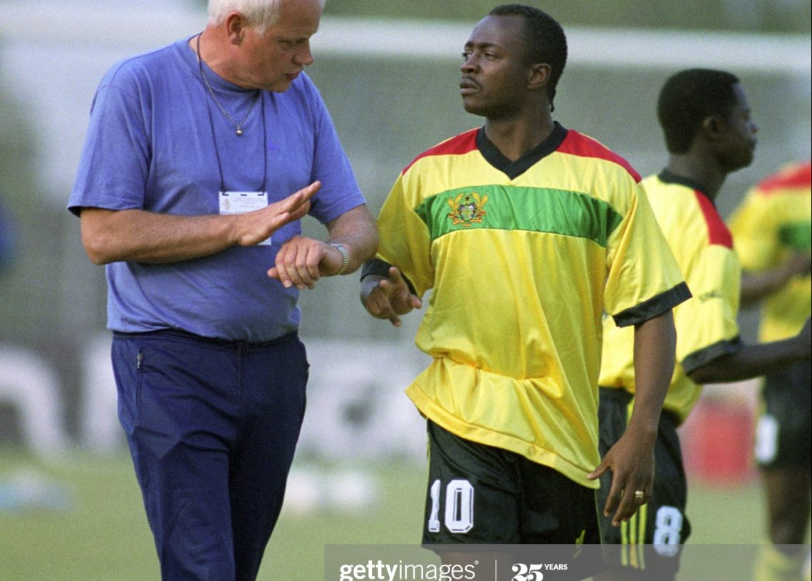GHANA MANAGER'S OTTO PFISTER, & ABEDI AYEW PELE.  (Photo by Neal Simpson/EMPICS via Getty Images)