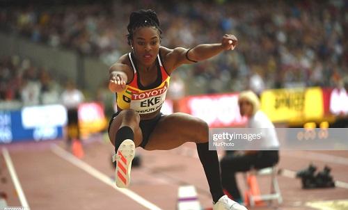Nadia EKE, Ghana, at triple jump preliminary heat at London Stadium in London on August 5, 2017 at the 2017 IAAF World Championships athletics. (Photo by Ulrik Pedersen/NurPhoto via Getty Images)