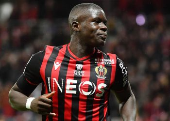 Nice's French defender Malang Sarr celebrates after scoring a goal during the French L1 football match between OGC Nice (OGCN) and Toulouse FC (TFC) at the Allianz Riviera stadium, in Nice, southeastern France, on December 21, 2019. (Photo by YANN COATSALIOU / AFP) (Photo by YANN COATSALIOU/AFP via Getty Images)