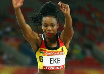 GOLD COAST, AUSTRALIA - APRIL 10:  Nadia Eke of Ghana competes in the Women's Triple Jump final during the Athletics on day six of the Gold Coast 2018 Commonwealth Games at Carrara Stadium on April 10, 2018 on the Gold Coast, Australia.  (Photo by Michael Dodge/Getty Images)