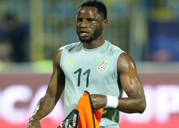 Mubarak Wakaso of Ghana warms up before the 2019 Africa Cup of Nations Finals game between Ghana and Benin at Ismailia Stadium in Ismailia, Egypt on 25 June 2019 © Ryan Wilkisky/BackpagePix