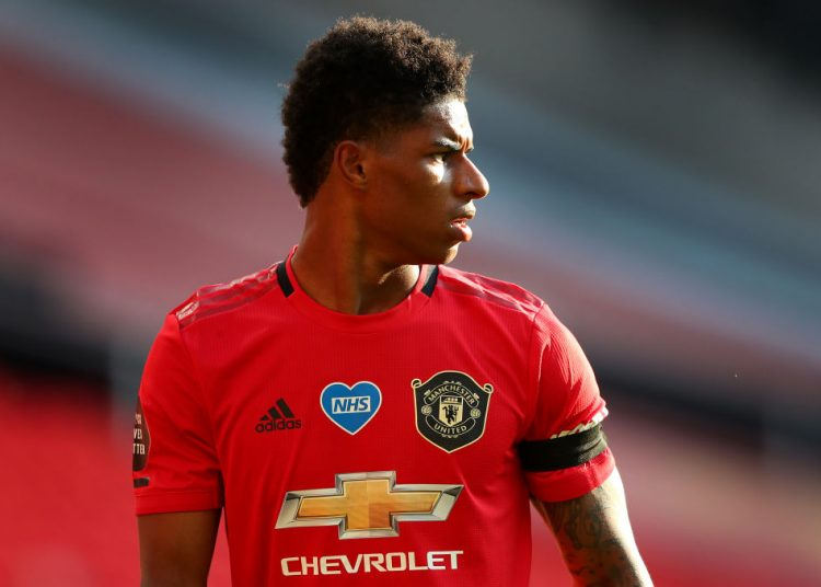 MANCHESTER, ENGLAND - JUNE 24:  Marcus Rashford of Manchester United looks on during the Premier League match between Manchester United and Sheffield United at Old Trafford on June 24, 2020 in Manchester, England. (Photo by Alex Livesey - Danehouse/Getty Images)