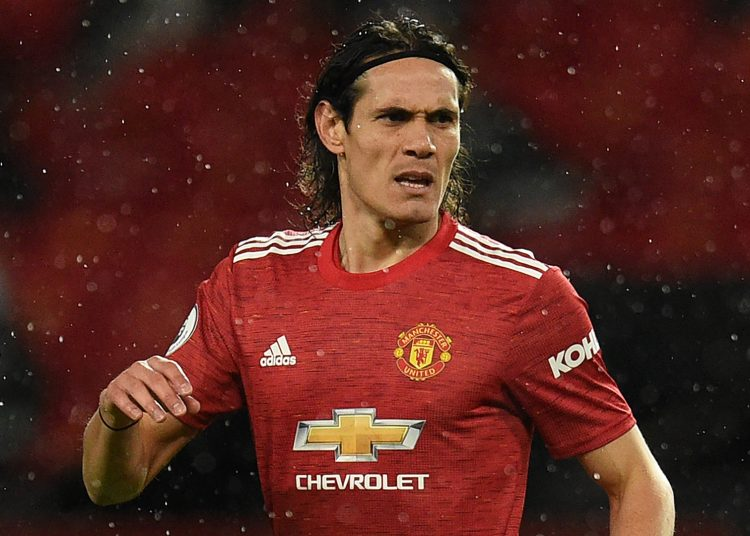 MANCHESTER, ENGLAND - OCTOBER 24: Edinson Cavani of Manchester United  during the Premier League match between Manchester United and Chelsea at Old Trafford on October 24, 2020 in Manchester, England. Sporting stadiums around the UK remain under strict restrictions due to the Coronavirus Pandemic as Government social distancing laws prohibit fans inside venues resulting in games being played behind closed doors. (Photo by Oli Scarff - Pool/Getty Images)