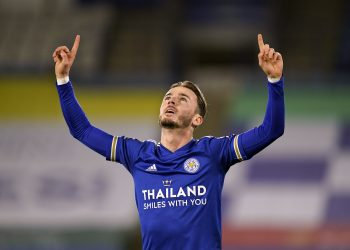 "Leicester City's James Maddison celebrates scoring his side's first goal of the game during the Premier League match at The King Power Stadium, Leicester. PA Photo. Picture date: Saturday January 16, 2021. See PA story SOCCER Leicester. Photo credit should read: Tim Keeton/PA Wire. RESTRICTIONS: EDITORIAL USE ONLY No use with unauthorised audio, video, data, fixture lists, club/league logos or ""live"" services. Online in-match use limited to 120 images, no video emulation. No use in betting, games or single club/league/player publications."