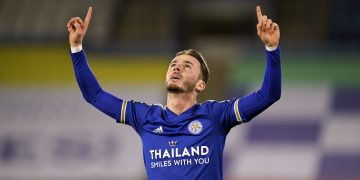 """Leicester City's James Maddison celebrates scoring his side's first goal of the game during the Premier League match at The King Power Stadium, Leicester. PA Photo. Picture date: Saturday January 16, 2021. See PA story SOCCER Leicester. Photo credit should read: Tim Keeton/PA Wire. RESTRICTIONS: EDITORIAL USE ONLY No use with unauthorised audio, video, data, fixture lists, club/league logos or """"live"""" services. Online in-match use limited to 120 images, no video emulation. No use in betting, games or single club/league/player publications."""