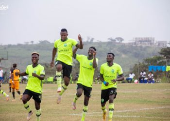 Joseph Esso (second from left) celebrating one of his goals against AshGold (Source: Dreams FC via Twitter)