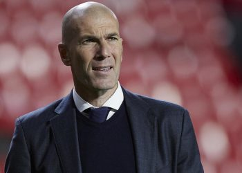 GRANADA, SPAIN - MAY 13: Zinedine Zidane, Manager of Real Madrid looks on following the La Liga Santander match between Granada CF and Real Madrid at Estadio Nuevo Los Carmenes on May 13, 2021 in Granada, Spain. Sporting stadiums around Spain remain under strict restrictions due to the Coronavirus Pandemic as Government social distancing laws prohibit fans inside venues resulting in games being played behind closed doors. (Photo by Quality Sport Images/Getty Images)