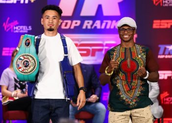 LAS VEGAS, NEVADA - JUNE 17: Adam Lopez (L) and Issac Dogboe (R) posed during their press conference for the NABF featherweight championship at Virgin Hotels Las Vegas on June 17, 2021 in Las Vegas, Nevada. (Photo by Mikey Williams/Top Rank Inc via Getty