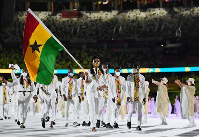 Nadia Eke leads Team Ghana out (at the Opening ceremony of the 2020 Olympics)