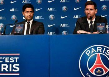Messi spoke to reporters at the Parc des Princes alongside PSG president Nasser Al-Khelaifi (Image credit: Getty Images)