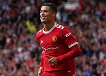 9/11/2021 - Manchester United's Cristiano Ronaldo celebrates scoring their side's first goal of the game during the Premier League match at Old Trafford, Manchester. Picture date: Saturday September 11, 2021. (Photo by PA Images/Sipa USA) *** US Rights Only ***