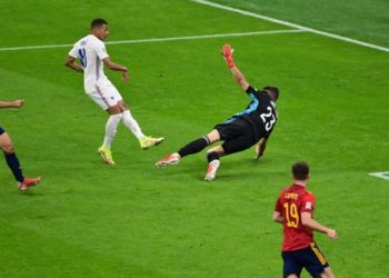 Kylian Mbappe stayed onside to score the winner in the Nations League final (Image credit: Getty Images)
